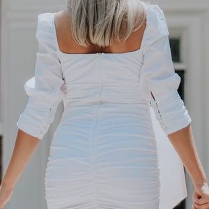 White Ruched Dress with Puffy 3/4 Length Sleeves